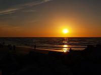 Łeba, romantyczny zachód słońca